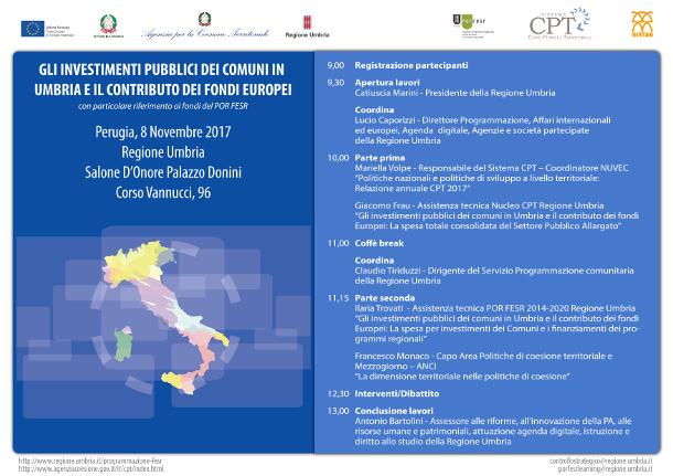 Gli investimenti pubblici dei Comuni in Umbria e il contributo dei Fondi europei, con particolare riferimento ai fondi del POR FESR - 8  novembre 2017 - Salone d'Onore Palazzo Donini (PG)