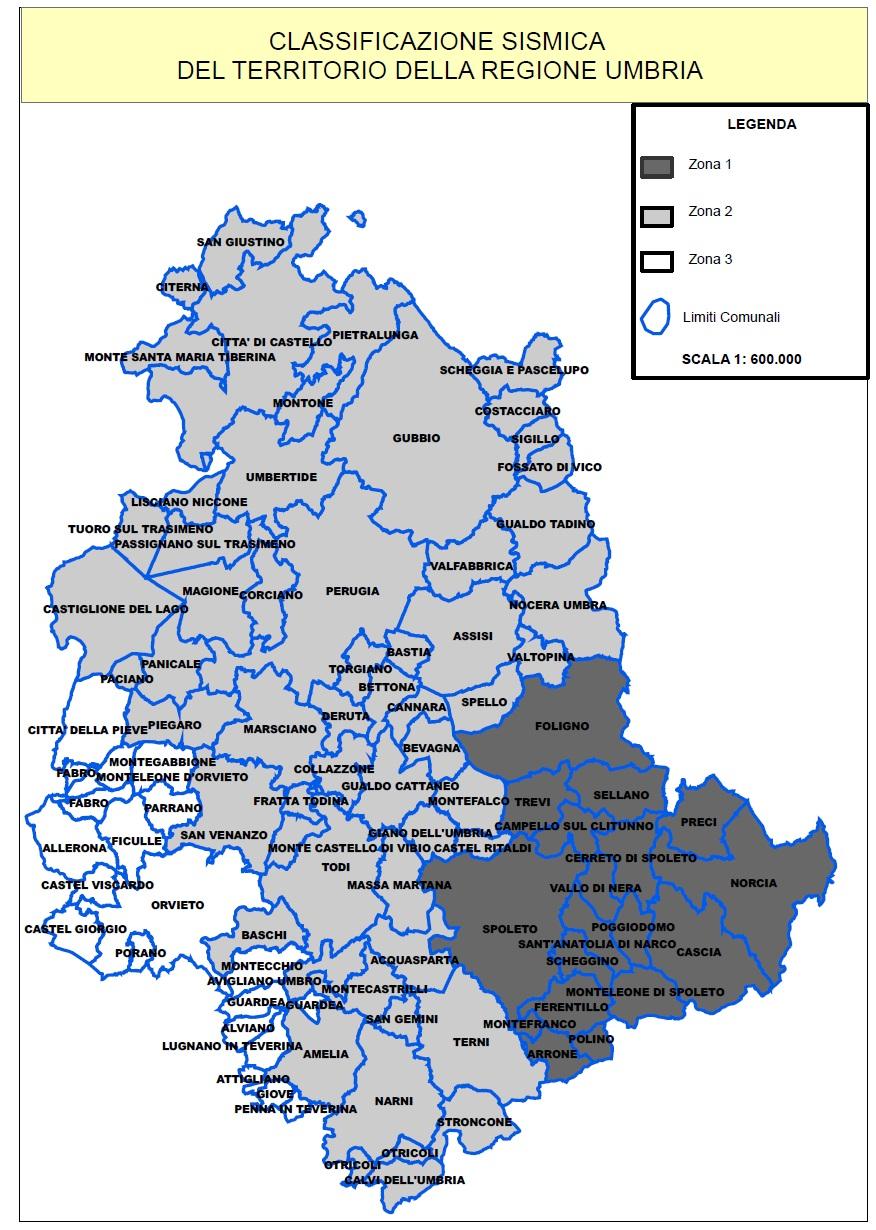 Cartina Comuni Umbria.Classificazione Sismica Regione Umbria